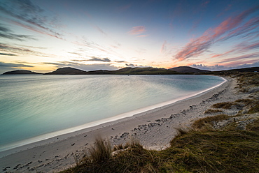 Winter sunrise at Bagh Bhatarsaigh (Vatersay Bay), Vatersay, the most southerly inhabited island of the Outer Hebrides, Scotland, United Kingdom, Europe