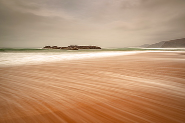 Sandwood Bay in early morning with Cape Wrath in far distance, Sutherland, Scotland, United Kingdom, Europe - 1209-208
