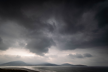 Storm over Luskentyre Beach, West Harris, Outer Hebrides, Scotland, United Kingdom, Europe