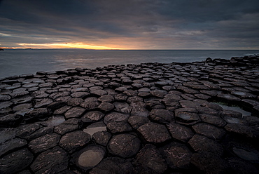 Giant's Causeway at sunset, UNESCO World Heritage Site, County Antrim, Northern Ireland, United Kingdom, Europe