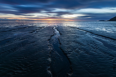 Brean Beach, mud and the Bristol Channel at sunset, Somerset, England, United Kingdom, Europe