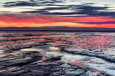 Brean Beach at sunset, mud and the Bristol Channel, Somerset, England, United Kingdom, Europe