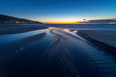 Water trails at sunset, Sennen Beach, Sennen, Cornwall, England, United Kingdom, Europe