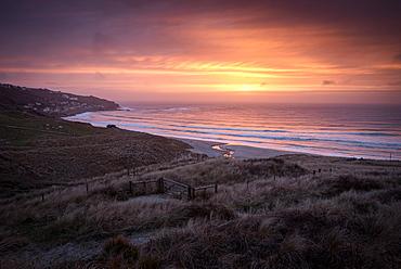 Sennen Beach at sunset, Sennen, Cornwall, England, United Kingdom, Europe