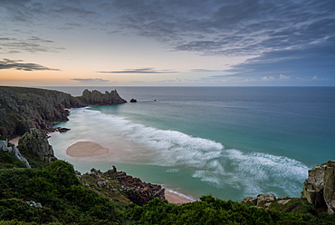 Pednvounder (Pedne) Beach at dawn in summer, Logan Rock, Cornwall, England, United Kingdom, Europe