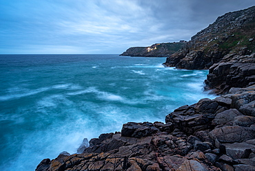 The Minack Theatre, as seen from Pedn Vounder (Pedne) Beach, Porthcurno, Cornwall, England, United Kingdom, Europe