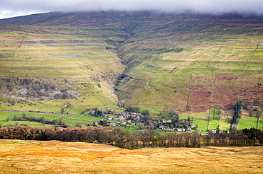 Buckden as seen from Birks Fell, Wharfedale, Yorkshire Dales, Yorkshire, England, United Kingdom, Europe