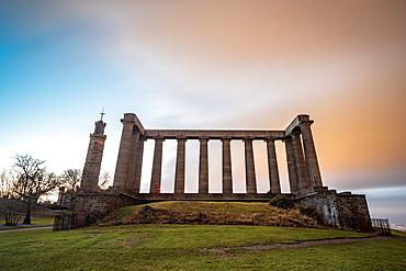 National Monument of Scotland at dusk, Calton Hill, Edinburgh, Scotland, United Kingdom, Europe