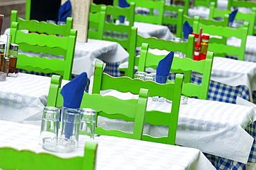 Outdoor restaurant tables, Corfu, Greece, Europe