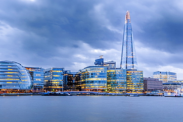 City Hall, The Shard and Bankside illuminated at night, London, England, United Kingdom, Europe