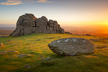 Haytor at sunrise in Dartmoor, England, Europe - 1213-150