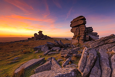 Great Staple Tor at sunset in Dartmoor National Park, England, Europe - 1213-152