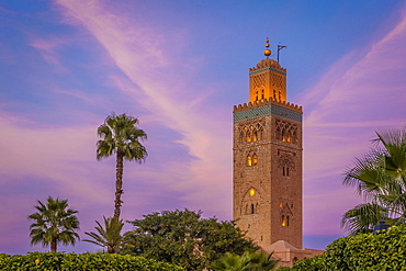 The minaret of the Koutoubia Mosque at twilight, Marrakech, Morocco, North Africa, Africa