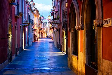Taormina Street, Taormina, Sicily, Italy, Europe