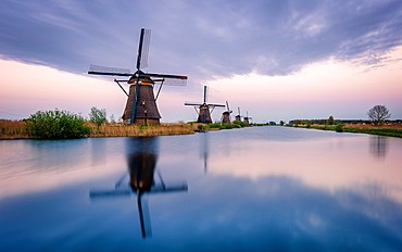 Windmills and reflections, Kinderdijk, UNESCO World Heritage Site, The Netherlands, Europe