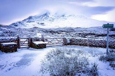 Snowy Sligachan, Isle of Skye, Inner Hebrides, Scotland, United Kingdom, Europe