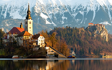Church of the Assumption and Bled Castle, Lake Bled, Slovenia, Europe