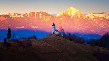 The Church of St. Primoz, Jamnik, at sunset, Slovenia, Europe