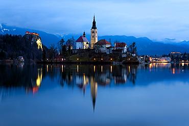 The Church of the Assumption pre-dawn, Lake Bled, Slovenia, Europe