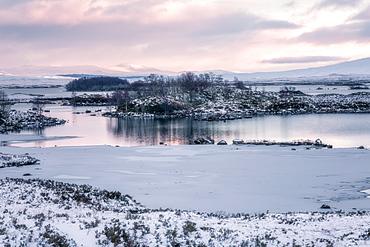 Loch Ba in winter snow at sunrise, Rannoch Moor, Highlands, Scotland, United Kingdom, Europe