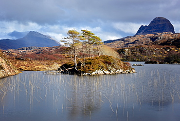 Two mountains of Silvan and Canisp from Loch Druim Suardalain, Sutherland, Scotland, United Kingdom, Europe