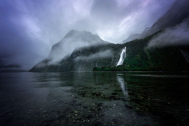 Lady Bowen Falls, Milford Sound, Fiordland National Park, UNESCO World Heritage Site, South Island, New Zealand, Pacific