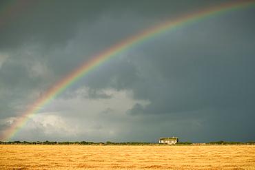 Rainbow over an abandoned cottage on a stormy Scottish Day, Scottish Highlands, Scotland, United Kingdom, Europe