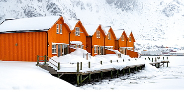 Rorbuer huts, rorbu, Ballstad, Lofoten Islands, Nordland, Norway, Europe