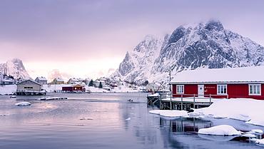 Traditional Rorbu, Reine, Lofoten Islands, Nordland, Norway, Europe