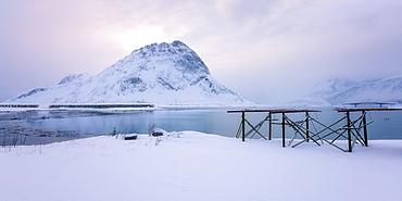 Lofoten in the snow, Lofoten Islands, Nordland, Arctic, Norway, Europe
