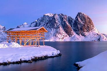 Stockfish drying racks, Sakrisoy, Moskenesoya, Lofoten islands, Nordland, Arctic, Norway, Europe