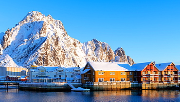 Svolvaer on a sunny winter's day, Lofoten Islands, Nordland, Arctic, Norway, Europe