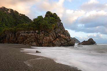 Coastline, Punakaiki at sunset, Paparoa National Park, West Coast, South Island, New Zealand, Pacific