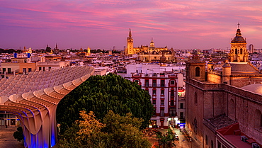 Sunset over the city of Seville Andalusia, Spain, Europe