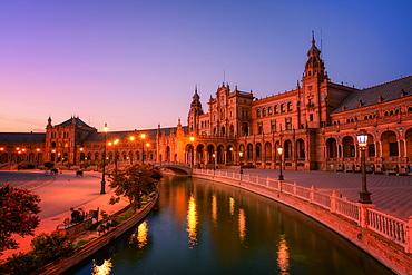 Plaza de Espana in Parque de Maria Luisa at night, Seville, Andalucia, Spain, Europe