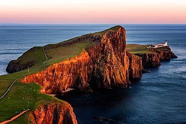 Neist Point at sunset, Isle of Skye, Inner Hebrides, Scotland, United Kingdom, Europe