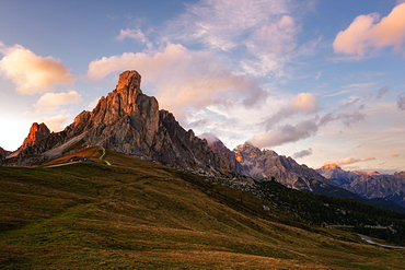 Passo Giau at sunset, Belluno, Dolomites, Italy, Europe