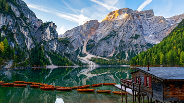 Lago Di Braies, South Tyrol, Dolomites, Italy, Europe