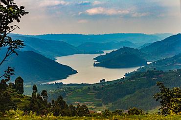 Driving by Lake Bunyonyi in Uganda, East Africa, Africa