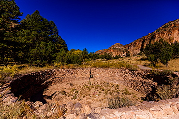 Pueblo Indian Ruins in Bandelier National Monument, New Mexico, United States of America, North America