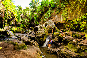 Women posing for a beautiful picture at the Beji Guwang Hidden Canyon, Bali, Indonesia, Southeast Asia, Asia