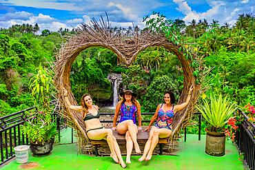 Women posing in front of a beautiful view at the Beji Guwang Hidden Canyon, Sanur, Bali, Indonesia, Southeast Asia, Asia