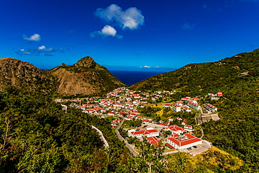 Beautiful village on Saba Island, Netherlands Antilles, West Indies, Caribbean, Central America