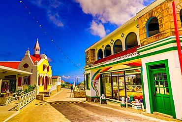 Beautiful village road on Saba Island, Netherlands Antilles, West Indies, Caribbean, Central America