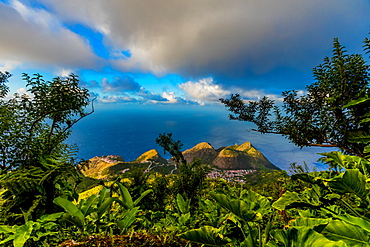 View from the top of Saba Island, Netherlands Antilles, West Indies, Caribbean, Central America