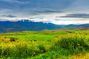 Snow capped mountains in the Sacred Valley, Peru, South America