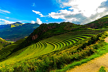 Beautiful terraces on the mountain side at Pisac, Peru, South America