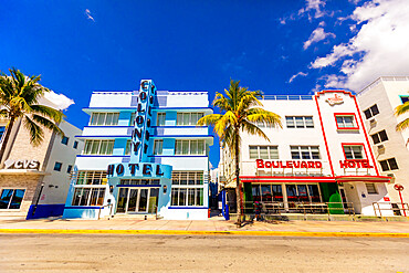 The usually packed Deco Drive in South Beach Miami lies empty during the COVID-19 virus pandemic, Miami, Florida, United States of America, North America