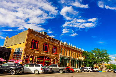 Street view of store fronts in Downtown Rapid City, South Dakota, United States of America, North America