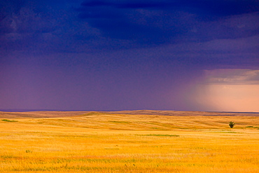 Rolling plains against a dark stormy sky in the Badlands, South Dakota, United States of America, North America
